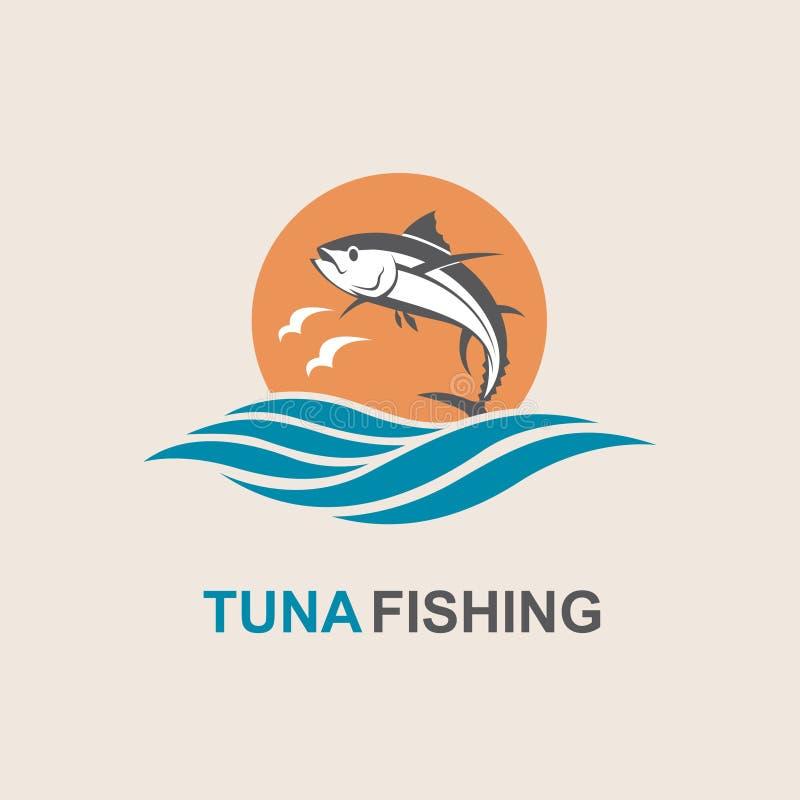 Tuna fish icon. Icon of tuna fish with waves royalty free illustration