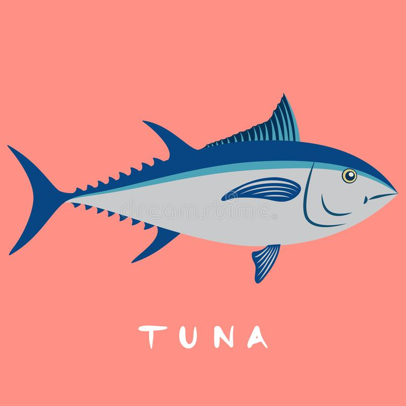 Tuna fish isolated on pink background vector illustration stock illustration