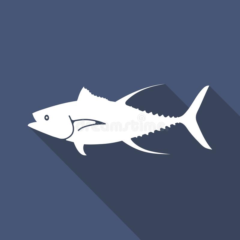 Tuna Fish lägenhetsymbol vektor illustrationer