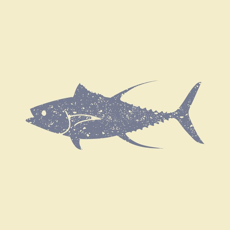 Tuna Fish lägenhetsymbol royaltyfri illustrationer