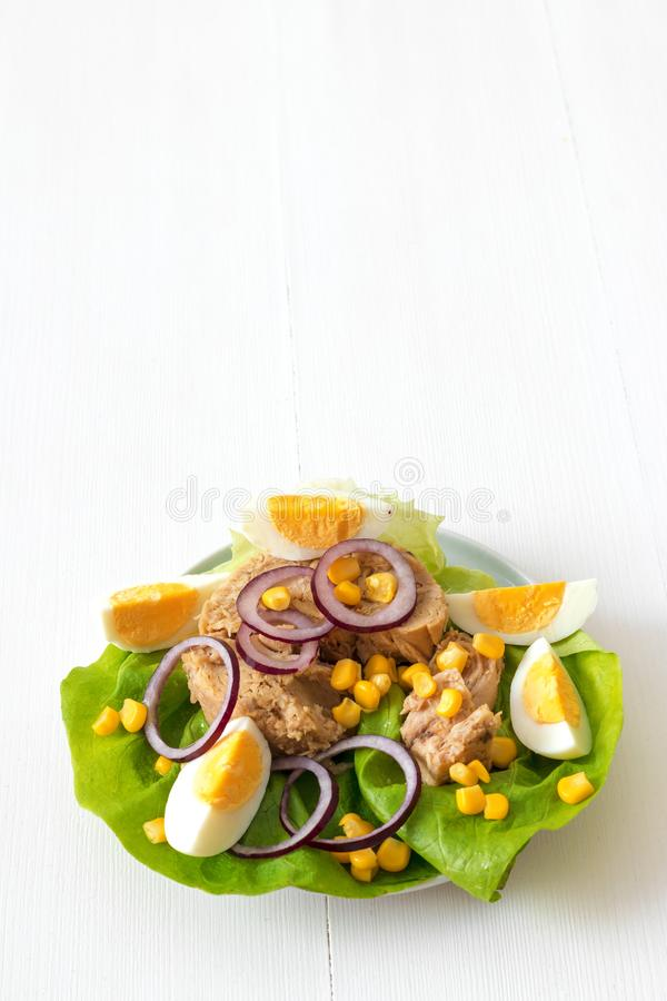 Tuna fish salad. Canned tuna with eggs, suggar corn, red onion rings on green lettuce leaf, slice of lemon in pocelain bowl. Tuna fish salad. White wooden table stock image