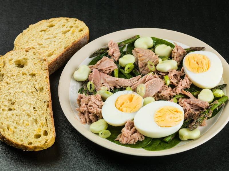 Tuna Fish Salad con los huevos hervidos y el espárrago de las habas imagenes de archivo