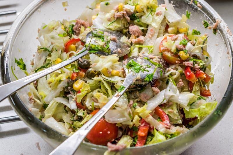 Tuna Fish Salad med sked som två är klar att blanda i exponeringsglasbunke royaltyfria foton