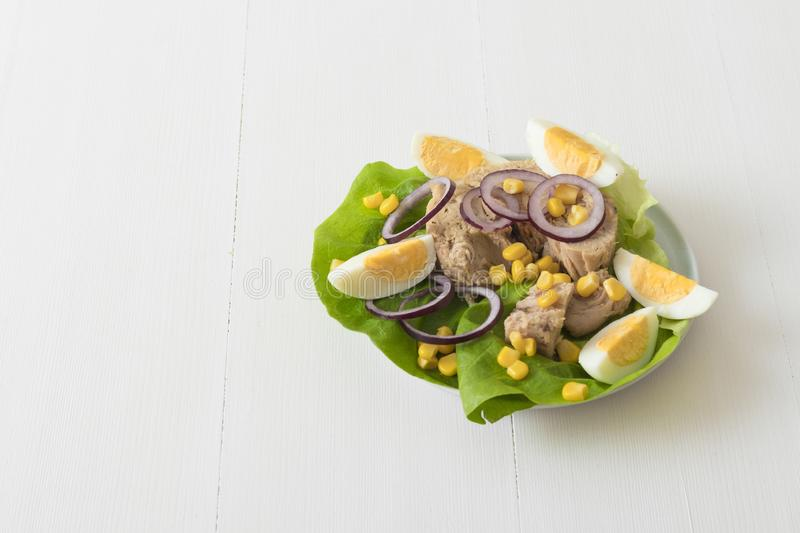 Tuna fish salad with sugar corn and eggs. Canned tuna with eggs, suggar corn, red onion rings on green lettuce leaf, slice of lemon in pocelain bowl. Tuna fish royalty free stock images
