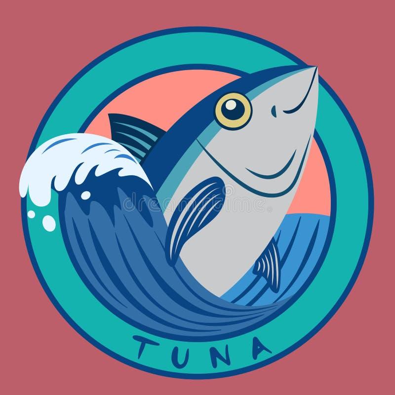 Tuna fish seafood on blue wave circle logo stock illustration
