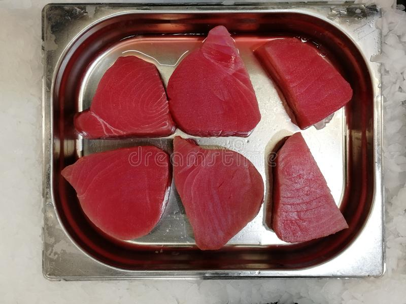 Tuna fish steak in the store. View from above royalty free stock image