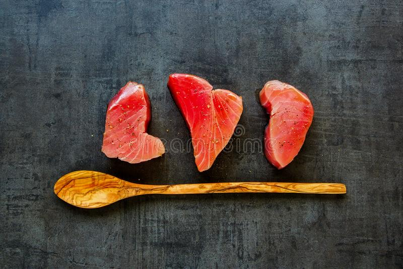 Tuna fish steaks royalty free stock photography