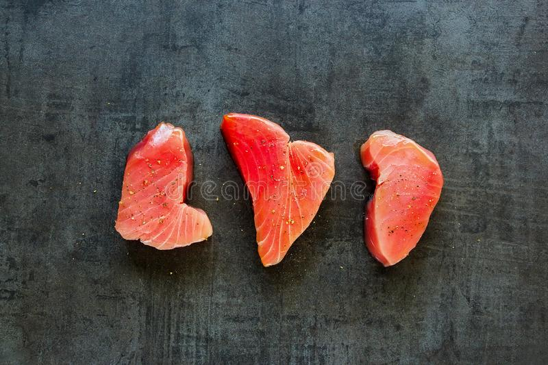 Tuna fish steaks royalty free stock images