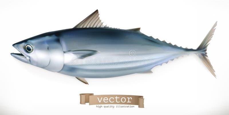 Tuna Fish vektor för symbol 3d Skaldjur royaltyfri illustrationer