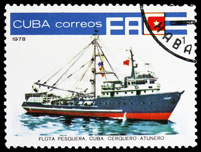 Tuna fishing boat. MOSCOW, RUSSIA - MARCH 23, 2019: Postage stamp printed in Cuba shows Tuna fishing boat `Pargo`, Cuban Fishing Fleet serie, circa 1978 royalty free stock photos
