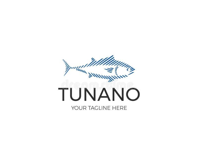 Tuna Logo Template linéaire Ligne conception de vecteur de pêche sportive illustration stock