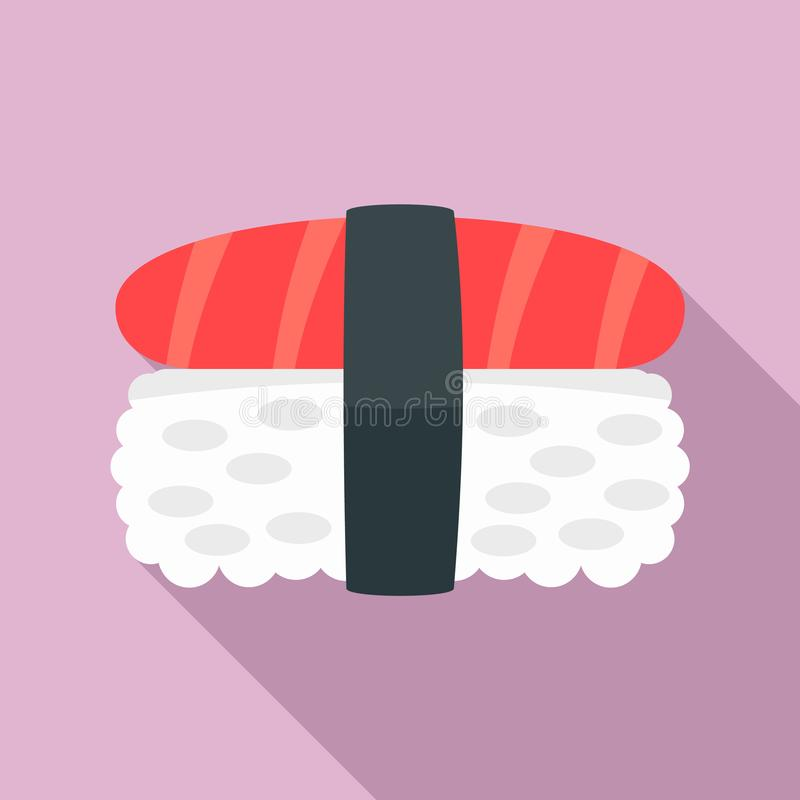 Tuna meat rice sushi icon, flat style vector illustration