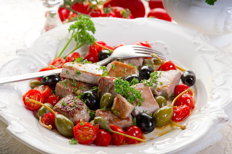 Download Tuna messinese recipe stock photo. Image of sliced, towel - 17700832