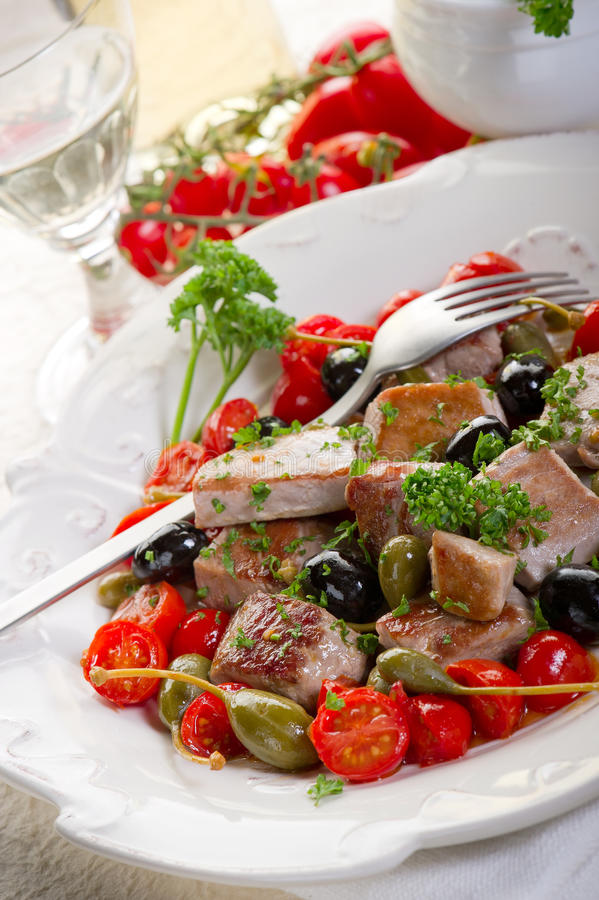 Download Tuna messinese recipe stock image. Image of cute, sauce - 17700961