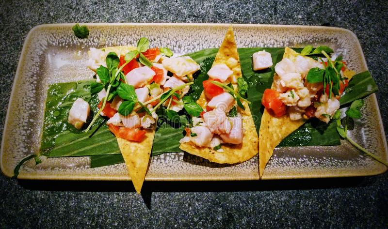 Tuna poke seviche appetizer stock images