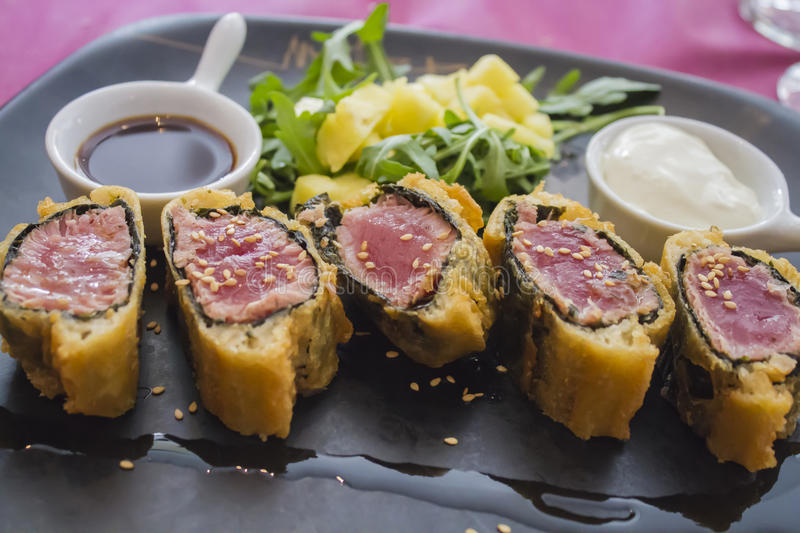 Tuna in puff pastry stock photos