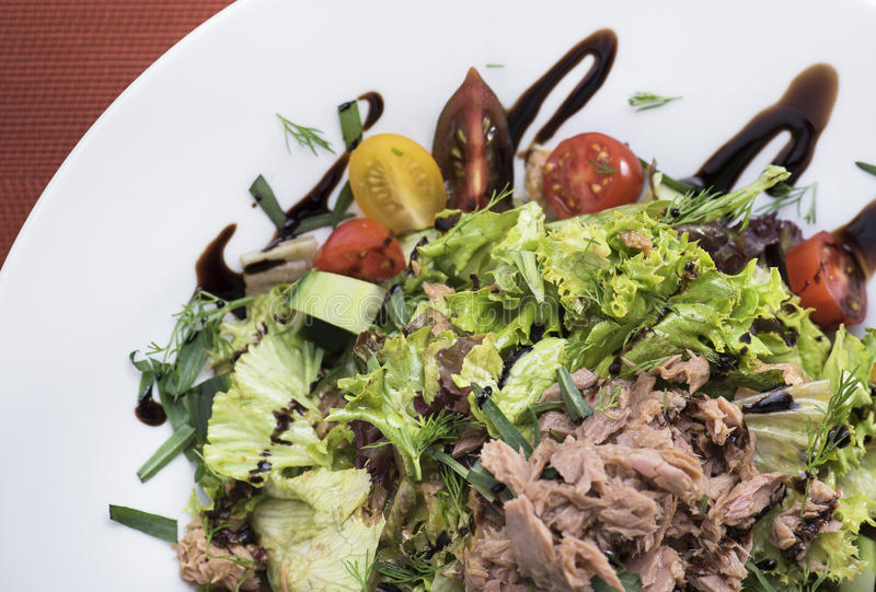 Tuna salad with cherry tomatoes 4 royalty free stock photo