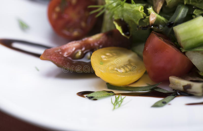 Tuna salad with cherry tomatoes 11close up shot stock photo