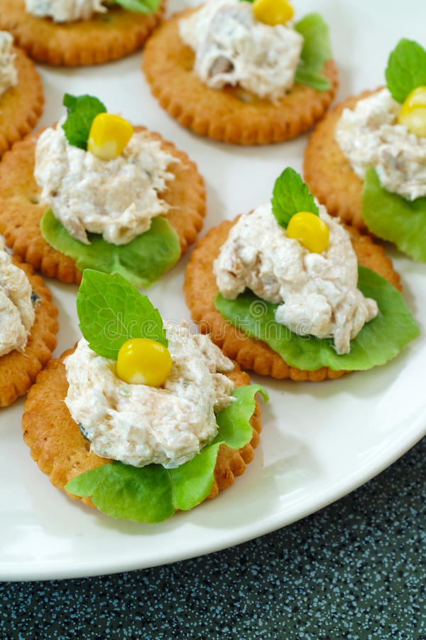 Download Tuna salad with crackers stock image. Image of party - 20069935