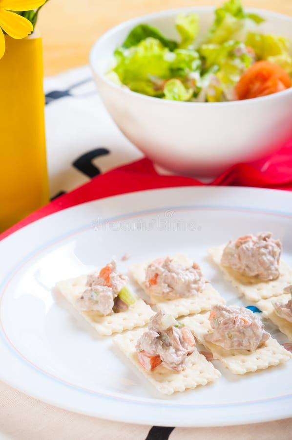 Download Tuna salad on crackers stock image. Image of mediterranean - 33274945
