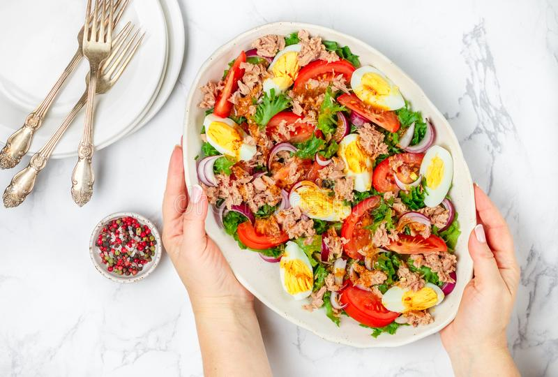 Tuna salad with lettuce, tomatoes, eggs, red onions and a delicate dressing royalty free stock image