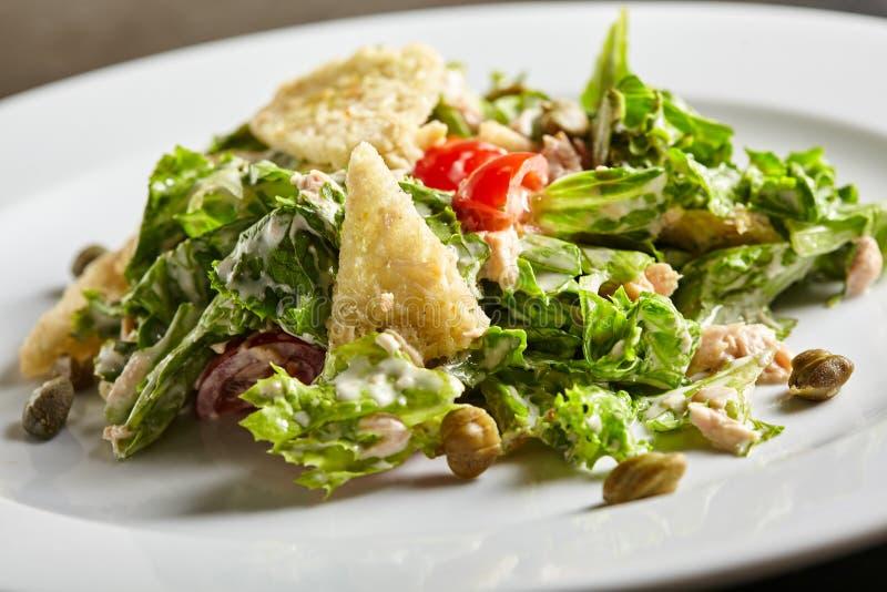 Tuna Salad mit Tomate und Kapriolen stockfotos