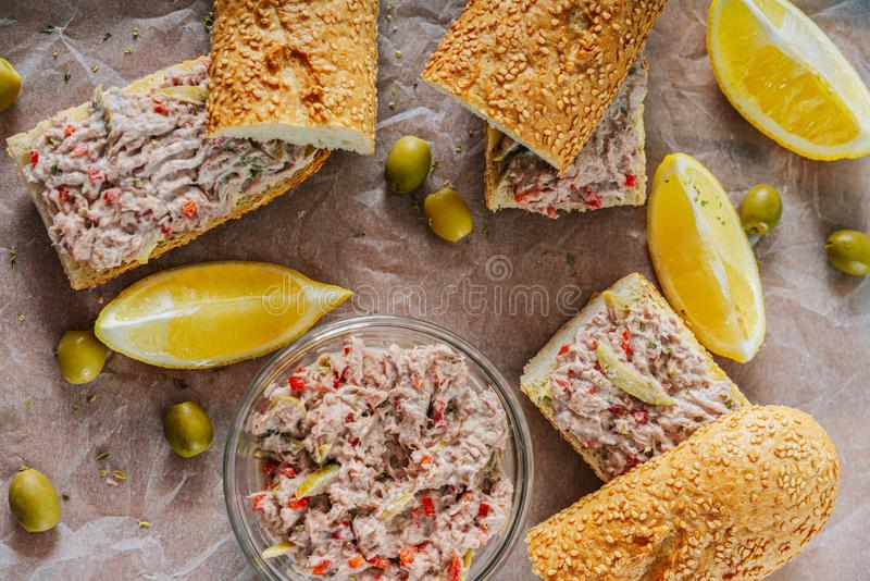 Tuna Salad Sandwiches And Olives. Tuna Salad Sandwiches And Green Olives royalty free stock photo