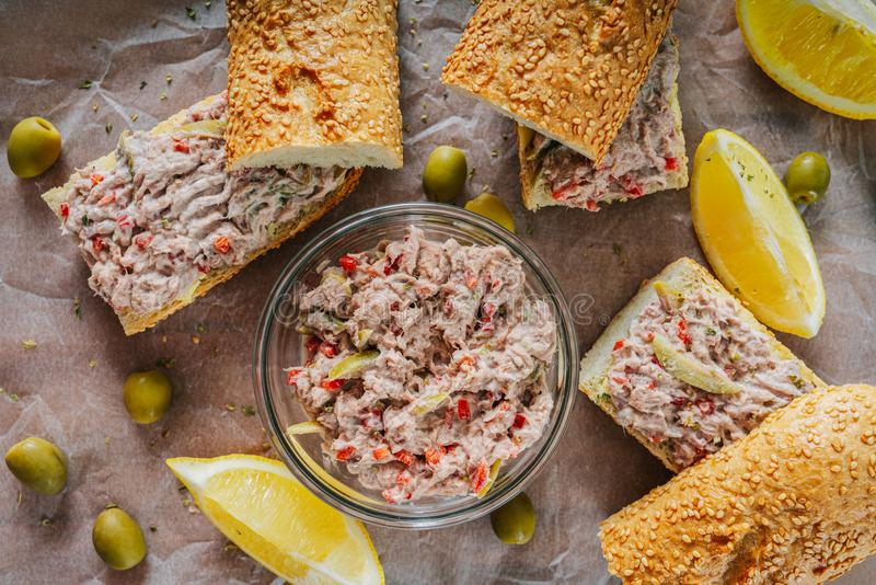 Tuna Salad Sandwiches And Olives. Tuna Salad Sandwiches And Green Olives stock photos