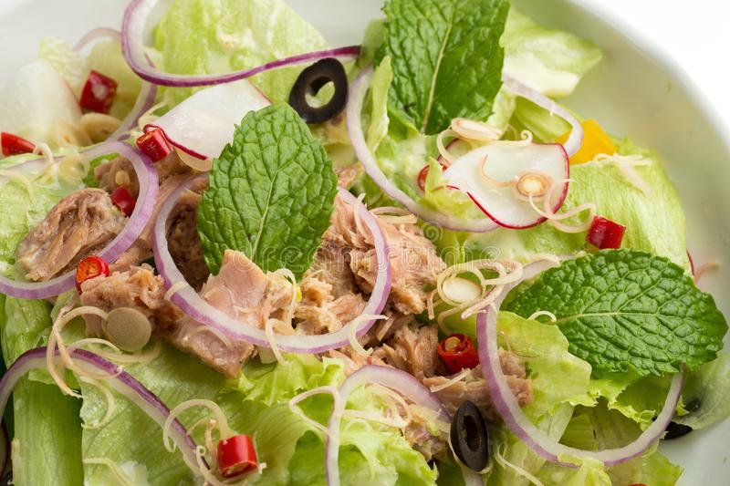 Tuna salad and vegetable with lettuce, eggs and pomegranate isolated on white background stock photos