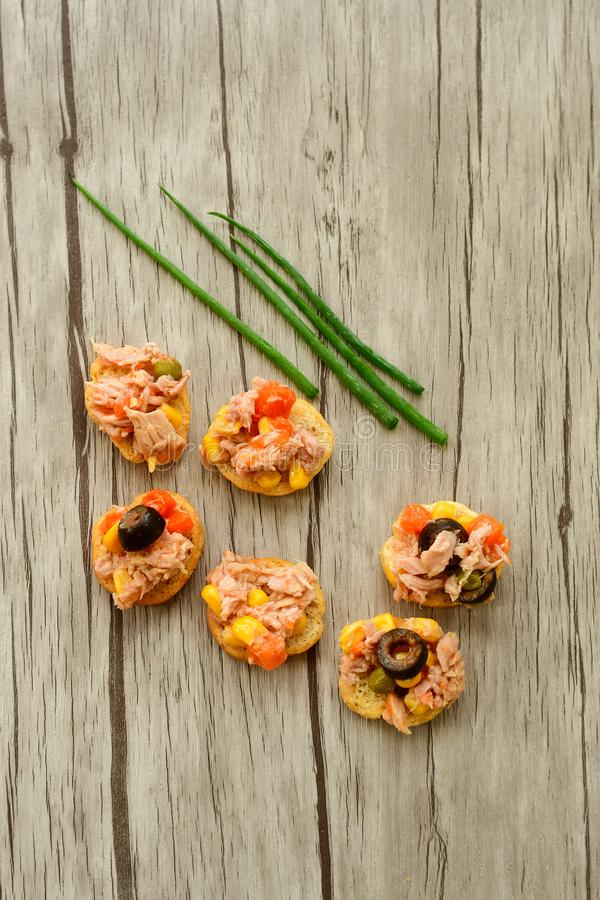 Tuna salads on bread stock image