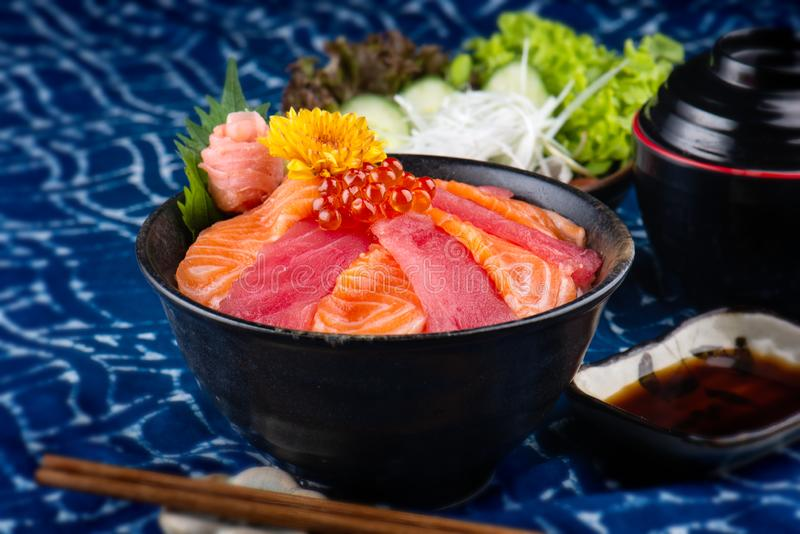 Tuna and salmon sashimi with rice. stock photo