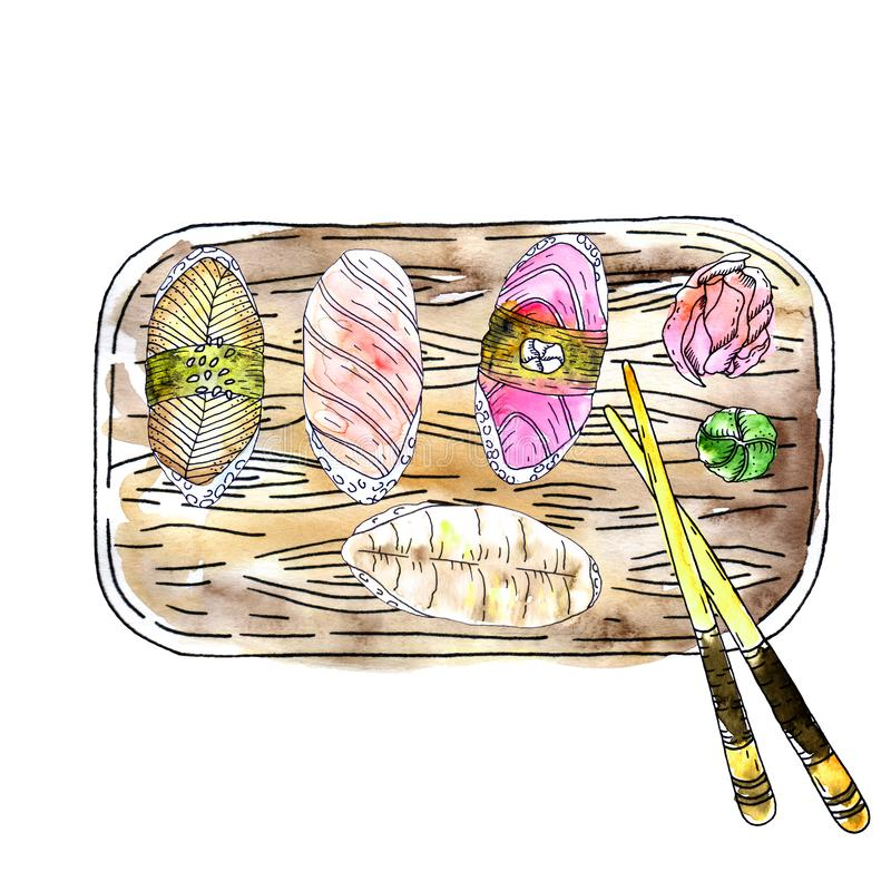 Tuna and salmon sashimi vectorJapanese cuisine - four kinds of sashimi, ginger, wasabi and chopsticks on a wooden board watercolor stock illustration