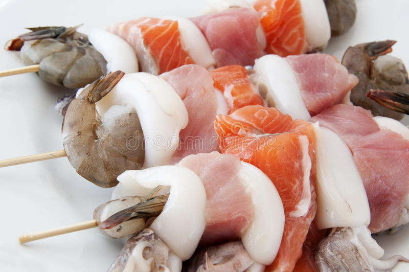 Seafood skewers royalty free stock photography
