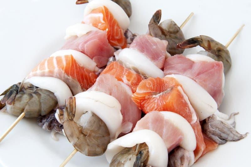 Seafood skewers stock image