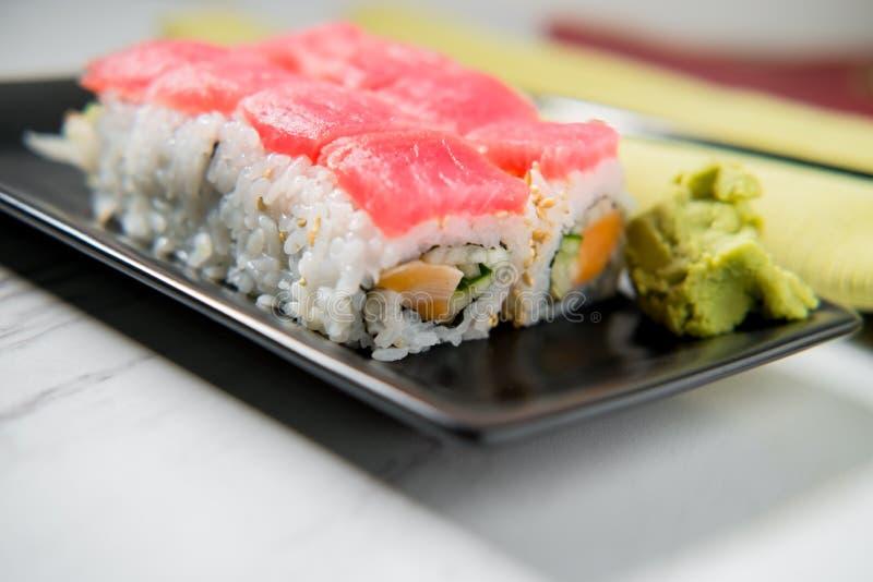 Tuna Salmon Sushi Roll stock image