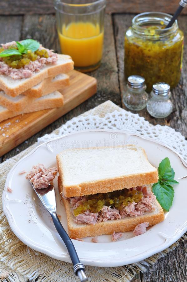 Tuna sandwich with cucumber Sweet Relish royalty free stock images