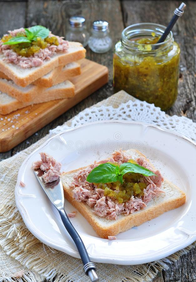 Tuna sandwich with cucumber Sweet Relish. Dinner royalty free stock photos