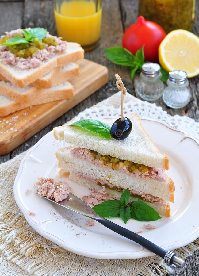 Tuna sandwich with cucumber Sweet Relish royalty free stock photography
