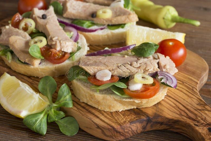 Tuna sandwiches royalty free stock photography