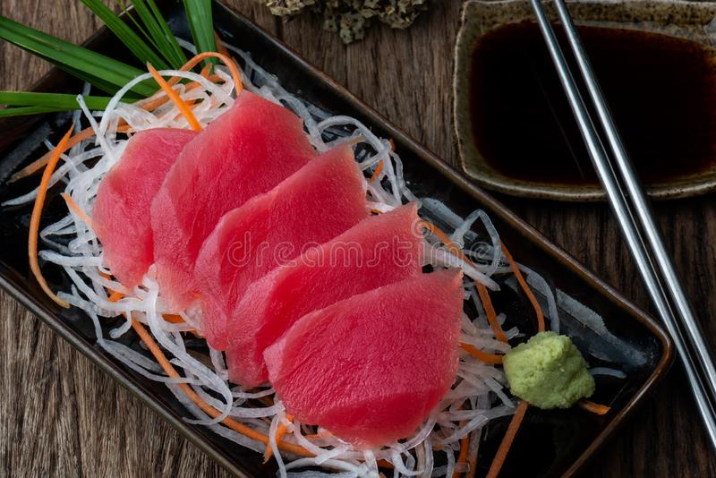 Tuna sashimi Japanese style menu. royalty free stock images