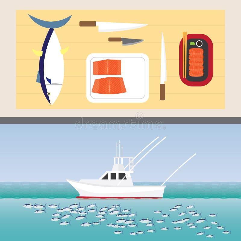 Tuna sashimi. And tuna fishing boat vector illustration