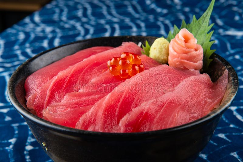 Tuna sashimi with rice. stock images