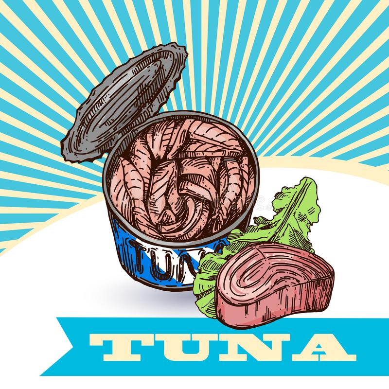 Tuna sketch vector illustration. Hand drawn set of pictures with fish. Food illusttration for menu of care. royalty free illustration