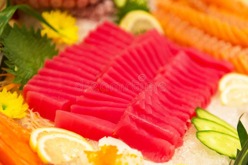 Tuna slice japanese food, tuna maguro sashimi slice royalty free stock photo