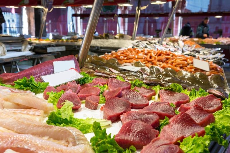 Tuna steaks and other fish meat at Mercato Ittico di Rialto royalty free stock photography