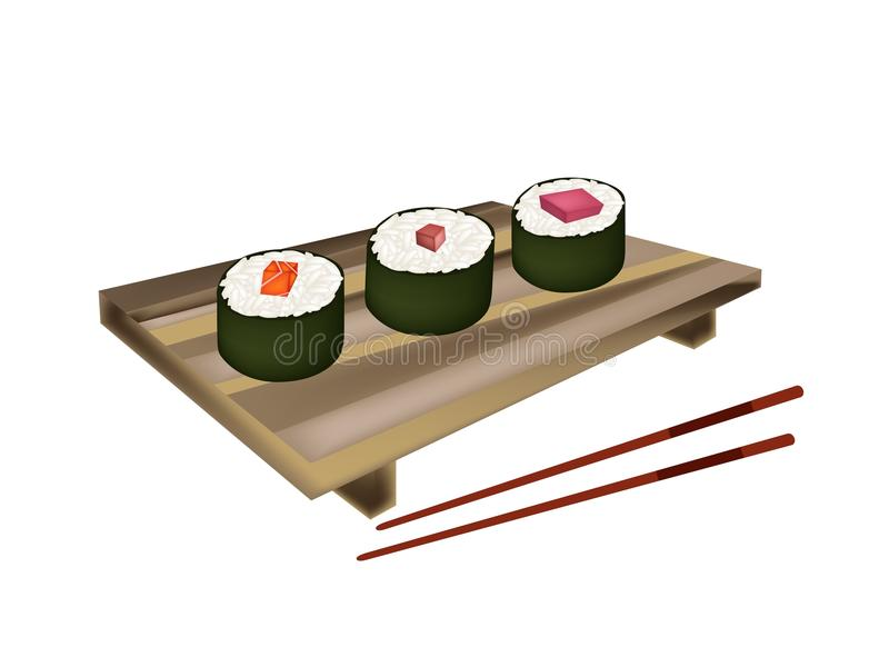 Tuna Sushi Roll, Maguro Norimaki and Salmon Makizushi vector illustration