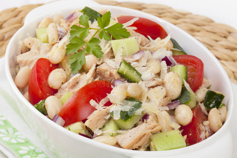 Tuna and White Bean Salad. Italian cannelini bean and tuna salad, with cucumber, tomato, red onion, parmesan cheese and a garlic vinaigrette dressing royalty free stock photo