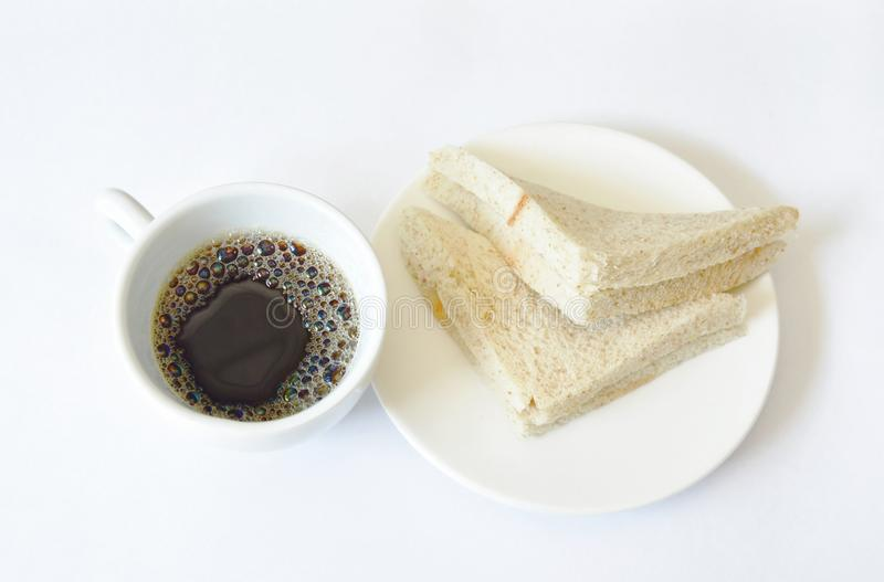 Tuna whole wheat sandwich on plate eat couple with black coffee cup royalty free stock image