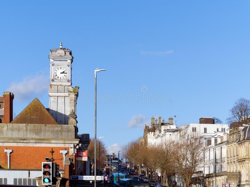 TUNBRIDGE维尔斯, KENT/UK - 1月5日:往铁路的看法 免版税库存图片