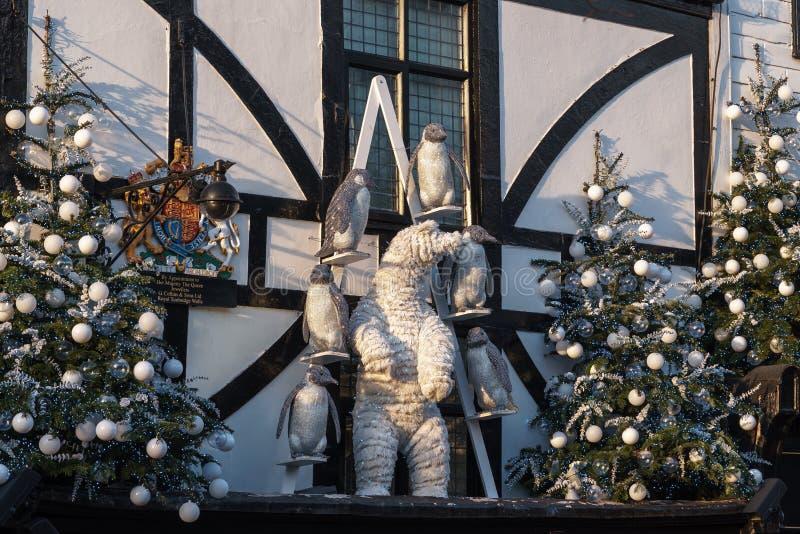 TUNBRIDGE WELLS, KENT/UK - JANUARY 4 : Christmas Display in Royal Tunbridge Wells on January 4, 2019. Christmas Display in Royal Tunbridge Wells on January 4 stock images
